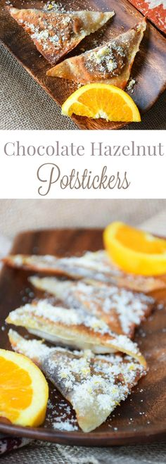 Chocolate Hazelnut Orange Potstickers are crispy little pillows of love! Perfect for snacking or an elegant treat to compliment your dessert table this holiday! #MadHungryFamily #WeekdaySupper
