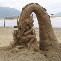 Sea monster sand castle