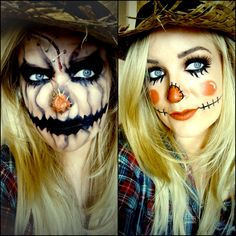 Are you looking for ideas for your Halloween make-up? Browse around this website for cute Halloween makeup looks. Scarecrow Halloween Makeup, Fete Halloween, Halloween Makeup Looks, Diy Halloween Costumes, Halloween Tutorial, Costume Ideas, Easy Halloween, Scary Scarecrow Costume, Halloween Halloween