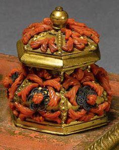 Encrier Triple - Bronze Doré et Corail - Italie - 17ème Siècle