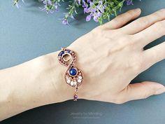 Infinity Bracelet Wire Wrap Bracelet Lapis Lazuli Bracelet #wirejewelry