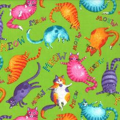 1/2 Yard Prisma Cats  Bright Kitties on Lime by by lavendarquilts  https://www.etsy.com/listing/206180238/12-yard-prisma-cats-bright-kitties-on?ref=shop_home_active_23