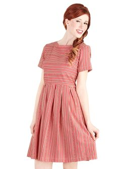 Along for the Carnival Ride Dress. A carefree afternoon at the fair calls for a whimsical ensemble, so youre wearing this striped, ModCloth-exclusive dress for the amusing occasion! #red #modcloth