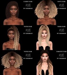 First hairstyle pack (P) by Luxuriah Sims for The Sims 4 - frisuren Maxis, Play Sims 4, Sims 4 Black Hair, The Sims 4 Cabelos, Pelo Sims, The Sims 4 Packs, Nikki Sims, Sims 4 Cc Makeup, Sims4 Clothes