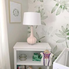We are touring the lovely green and pink nursery designed by Alexandra Calame of Inspired By. You will love this subtle tropical inspired nursery. Green Leaf Wallpaper, Leaves Wallpaper, Baby Room Decor, Wall Decor, Kindergarten Wallpaper, Baby Nursery Wallpaper, Kids Wall Murals, Tropical Bathroom, Nursery Decor