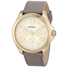 @Overstock - Fossil Women's AM4529 'Cecile' Grey Leather Watch - This elegant women's watch from Fossil is crafted with a goldtone stainless steel case and a soft grey leather strap. The beige dial houses goldtone Roman numerals and stick indices, while the precise quartz movement keeps accurate time.  http://www.overstock.com/Jewelry-Watches/Fossil-Womens-AM4529-Cecile-Grey-Leather-Watch/9115833/product.html?CID=214117 $101.99