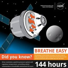 Here's your fun fact for today. Breathe Easy  In case of an emergency Orion can provide a breathable atmosphere for suited astronauts for up to 144 hours. #FactFriday
