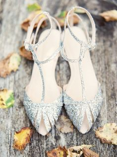 sparkly sequin silver wedding shoes for bride