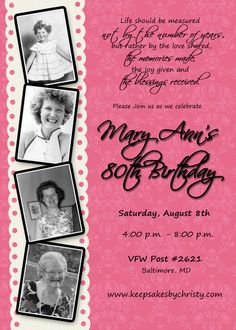 Custom Birthday Invitation... 30th, 40th, 50th, 60th, 70th, 75th, 80th, 90th…