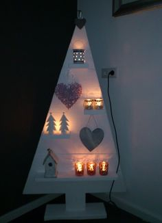Kerstboom a christmas tree shaped cupboard with Christmas stuff inside? Christmas Makes, Noel Christmas, Winter Christmas, All Things Christmas, Christmas Lights, Creative Christmas Trees, Wooden Christmas Trees, Xmas Tree, Wooden Tree