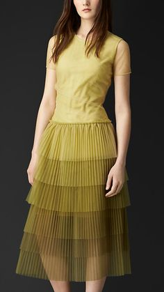 Pale yellow Pleated Tulle T-Shirt Dress - 100 polyamide Summer Fashion Outfits, Casual Summer Dresses, Trendy Dresses, Nice Dresses, Fashion Dresses, Women's Fashion, Burberry Dress, African Print Fashion, Western Dresses