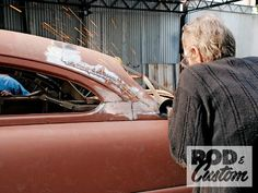 Check out Bill Hines and his 1951 Mercury as it the roof gets a custom chop the old school way inside Rod & Custom Magazine. Old Shool, Auto Body Work, Sheet Metal Fabrication, Metal Shaping, Rat Look, Mercury Cars, Collision Repair, Traditional Hot Rod, Lead Sled