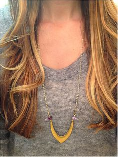 Geometric and Amethyst Necklace by elladolce on Etsy, $26.50