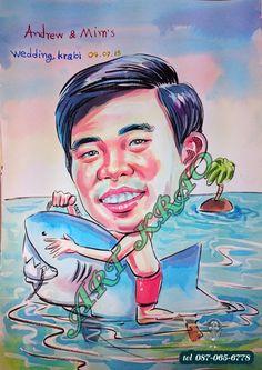 การ์ตูนสีๆๆ ขี่ฉลาม caricature  Tel. true .097-065-6778 --AIs 094-919-5274 ID..Line.. Artkrao418 IG.. Artkrao Facebook. Artkrao
