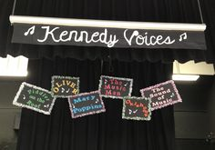 These musical boards were created from poster board, tissue paper (glitter & metallic tissue paper) and Cricut letters. The small musical notes were cut out onto white card stock and outlined with glue & glitter. These boards were a great backdrop at our schools Choir production relating to songs from these Musicals.