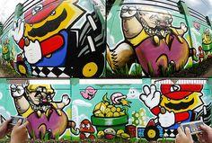 Mario Vs Wario Graffiti - Video Game Street Art