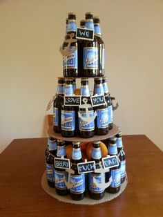 "Beer Bottle Cake for a ""beery"" great dad."