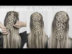 Loop Braid & Flower Rosette Tutorial - DIY! - YouTube