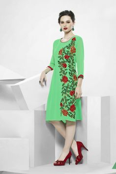 Green Faux Georgette Kurti with Embroidered - Z2184P1028-16 Checkout our #kurtis @ http://m.zohraa.com/kurtis.html #zohraa #designer #casual #kurtis #onlineshop #womensfashion #womenswear #look #diva #party #shopping #collection #online #beautiful #love #beauty #glam #bollywood #shoppingonline #styles #stylish #model #fashionista #pretty #women #luxury #celebrity #lifestyle #best #women #fashion