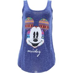 Disney - Women's Mickey Aztec Ears Tank Tops - Navy