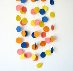 Colorful Circle Felt Garland  home decor felt bunting by Pelemele, £7.90