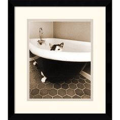 @Overstock - Perfect for any cat lover, this whimsical framed art print comes ready to hang. It features a thin black gallery frame, which will coordinate well with many decors, and the small size makes it just the right thing for a bathroom or bedroom. http://www.overstock.com/Home-Garden/Jim-Dratfield-Kitty-III-Framed-Art-Print/6797164/product.html?CID=214117 $74.99