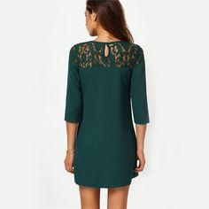 SheIn 2016 High Street Fashionable Female Dresses Dark Green Round Neck With Lace Three Quarter Length Sleeve Shift Mini Dress | OK Fashion