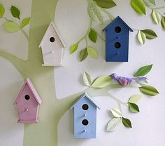 Image detail for -Pottery Barn Look-Alikes: DIY Pottery Barn Kids Wooden Birdhouses Pottery Barn Kids, Bedroom Themes, Nursery Themes, Nursery Ideas, Bedroom Wall, Bedroom Decor, Eclectic Nursery Decor, Bird Theme Nursery, Deer Nursery