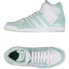 Adidas Originals Sneakers ($49) ❤ liked on Polyvore featuring shoes, sneakers, light green, print sneakers, two tone shoes, adidas originals sneakers, round cap and round toe shoes