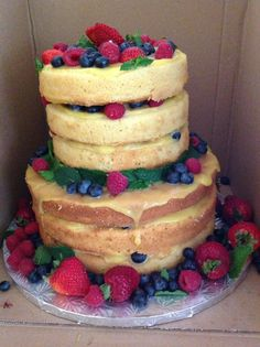 Grooms cake - naked with lemon curd and fresh berries