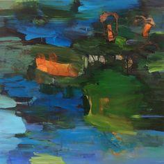 """"""" Vannflate med overraskelser """" oil on canvas, 100 x 100 cm, Bjørnar Aaslund, 2015"""