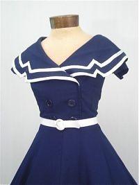 "BETTIE PAGE ""CAPTAIN"" FLARE NAVY BLUE SWING DRESS"