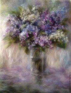 Купить Картина из шерсти Сирени пышное цветенье - сиреневый, сирень, картина для интерьера, картина с цветами