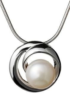 A stunning silver and pearl pendant.