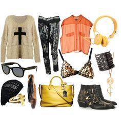 Long haul flight - outfit inspiration via #Polyvore... Oversized sweater / harem pants / Ray-Bans / #OneTeaspoon leopard print bralette / beanie / #UrbanEars headphones