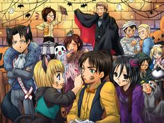 Levi, Hanji, Armin, Hanji, Eren, Jean, Mikasa, Bertholdt, Reiner, Ymir, Christa/Historia, Connie, Attack on titan, AOT, SNK