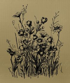 No Credit Required Vintage Wildflowers Clip Art by ImagesClipArt, $1.50 tattoo