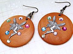 $32  Fairy lovers rejoice!  Fairy Boho Gypsy enchanting magical earrings. Natural wood component with fairies and Swarovski multicolor crystals. Fantastic earring!