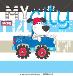 cute dog by car, T-shirt design vector illustration - stock vector