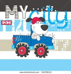 cute dog by car, T-shirt design vector illustration - stock vector