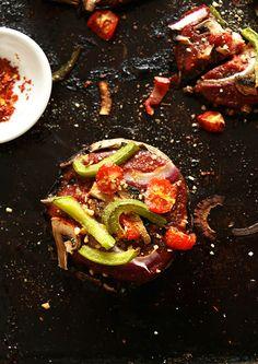 Veggie Portobello Pizzas! A quick, vegan, gluten free dinner that's SO fast and delicious