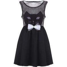 """Cat Face"" Black Dress ($50) ❤ liked on Polyvore"