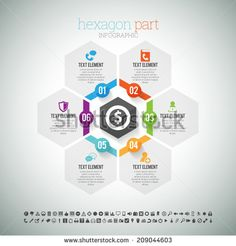 Vector illustration of hexagon part infographic element. - stock vector
