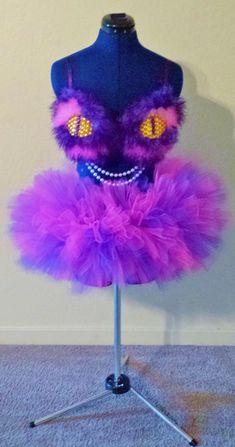 Cheshire Cat Costume / Rave Bra Tutu and Fluffies by MadeByPlum