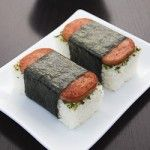 Spam Musubi. Discovered this in Kauai, Hawaii on our honeymoon.  They sold it at the market where we went to get our marriage license.  Funny.