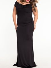 Patchwork Plain Off Shoulder Plus-size-midi-maxi-dress