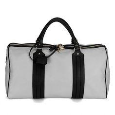 Gucci New Leather Luggage Tag Bag Greyish White