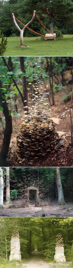 德国艺术家Cornelia Konrads最喜欢在树林里创作,主题永远是:静止的时间和消失的重力。