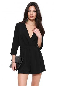 Sleek City Romper in Black | Necessary Clothing