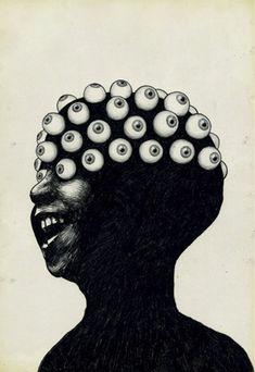 'Out of Sight, Out of Mind', Pop Art illustration, black and white, eyes. Art Bizarre, Creepy Art, Weird Art, Arte Horror, Horror Art, Arte Obscura, Eye Art, Psychedelic Art, Surreal Art